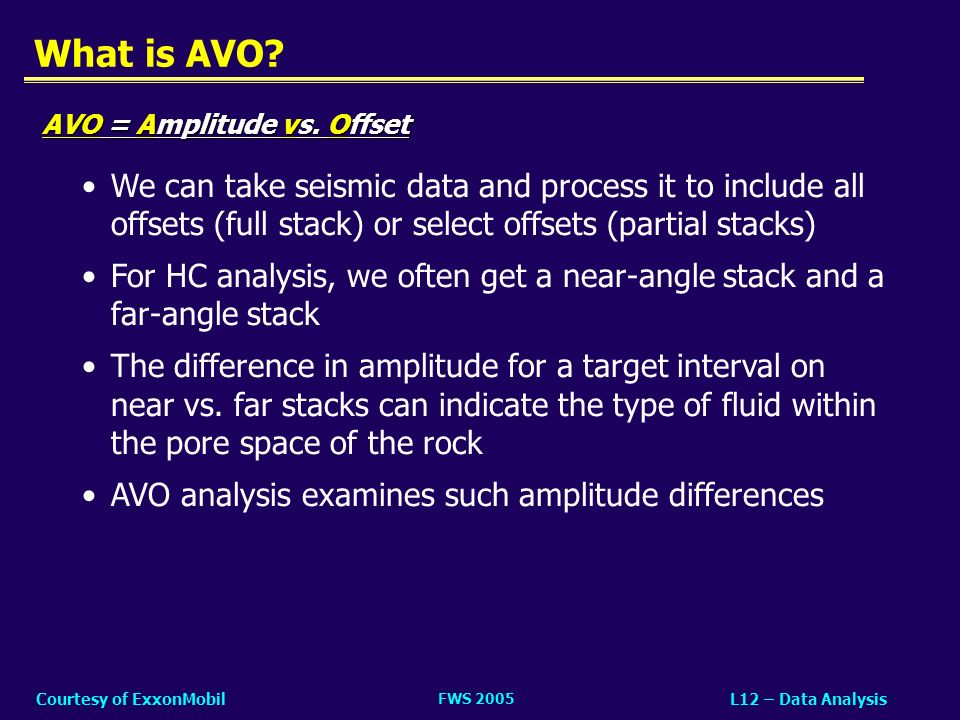 FWS 2005 L12 – Data AnalysisCourtesy of ExxonMobil What is AVO? We can take seismic data and process it to include all offsets (full stack) or select