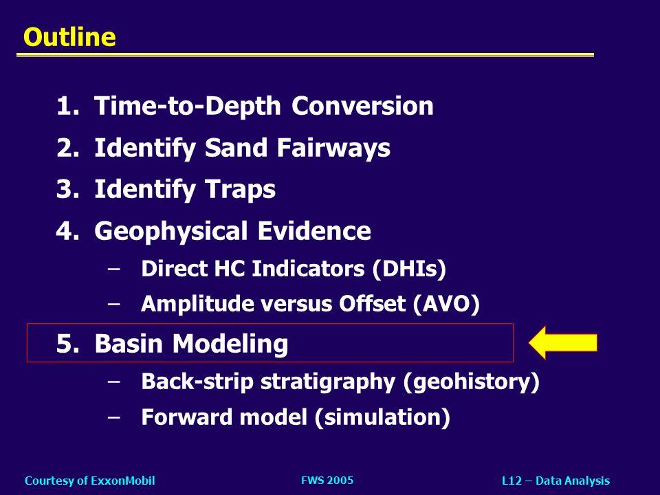 FWS 2005 L12 – Data AnalysisCourtesy of ExxonMobil 1.Time-to-Depth Conversion 2.Identify Sand Fairways 3.Identify Traps 4.Geophysical Evidence –Direct