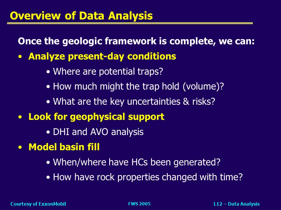 FWS 2005 L12 – Data AnalysisCourtesy of ExxonMobil Outline 1.Time-to-Depth Conversion 2.Identify Sand Fairways 3.Identify Traps 4.Geophysical Evidence –Direct HC Indicators (DHIs) –Amplitude versus Offset (AVO) 5.Basin Modeling –Back-strip stratigraphy (geohistory) –Forward model (simulation)