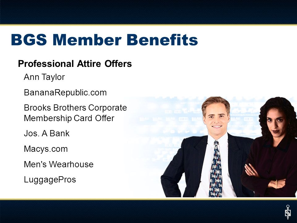 Professional Attire Offers Ann Taylor BananaRepublic.com Brooks Brothers Corporate Membership Card Offer Jos.