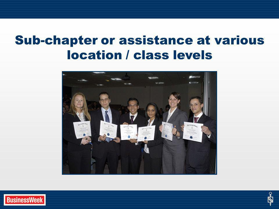 Sub-chapter or assistance at various location / class levels