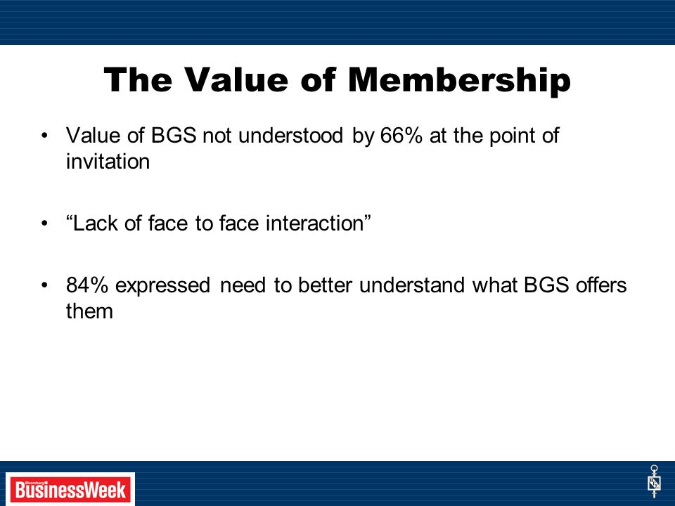 The Value of Membership Value of BGS not understood by 66% at the point of invitation Lack of face to face interaction 84% expressed need to better understand what BGS offers them
