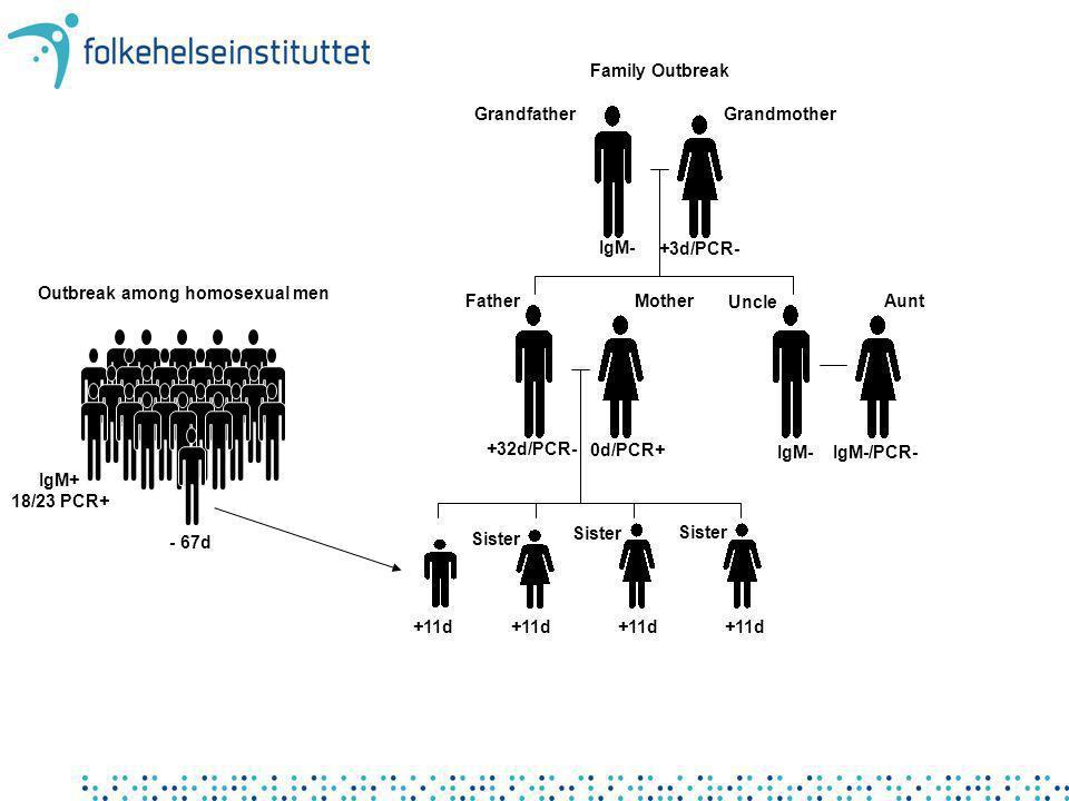 MotherFather Sister GrandfatherGrandmother +3d/PCR- 0d/PCR+ +11d IgM- +32d/PCR- Family Outbreak Outbreak among homosexual men - 67d UncleAunt IgM-IgM-