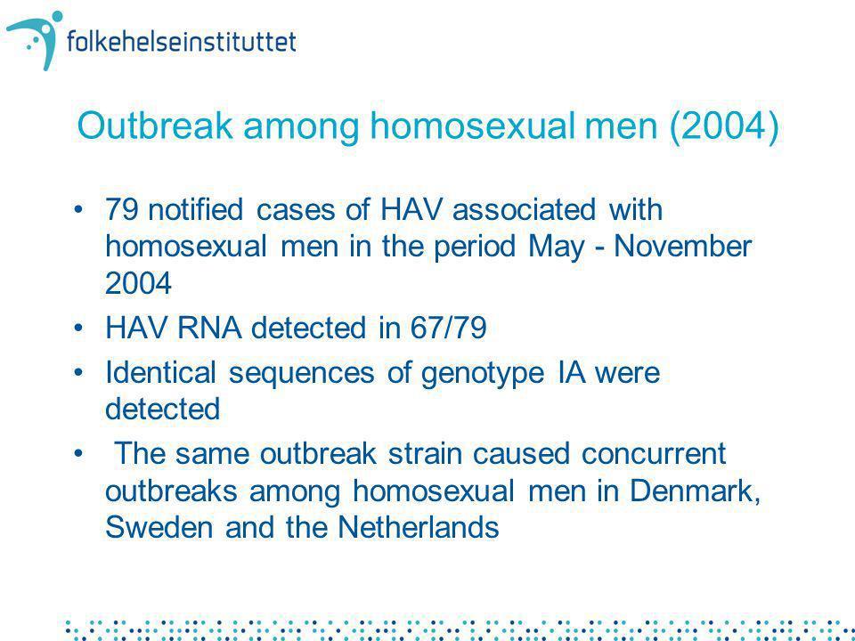 Outbreak among homosexual men (2004) 79 notified cases of HAV associated with homosexual men in the period May - November 2004 HAV RNA detected in 67/