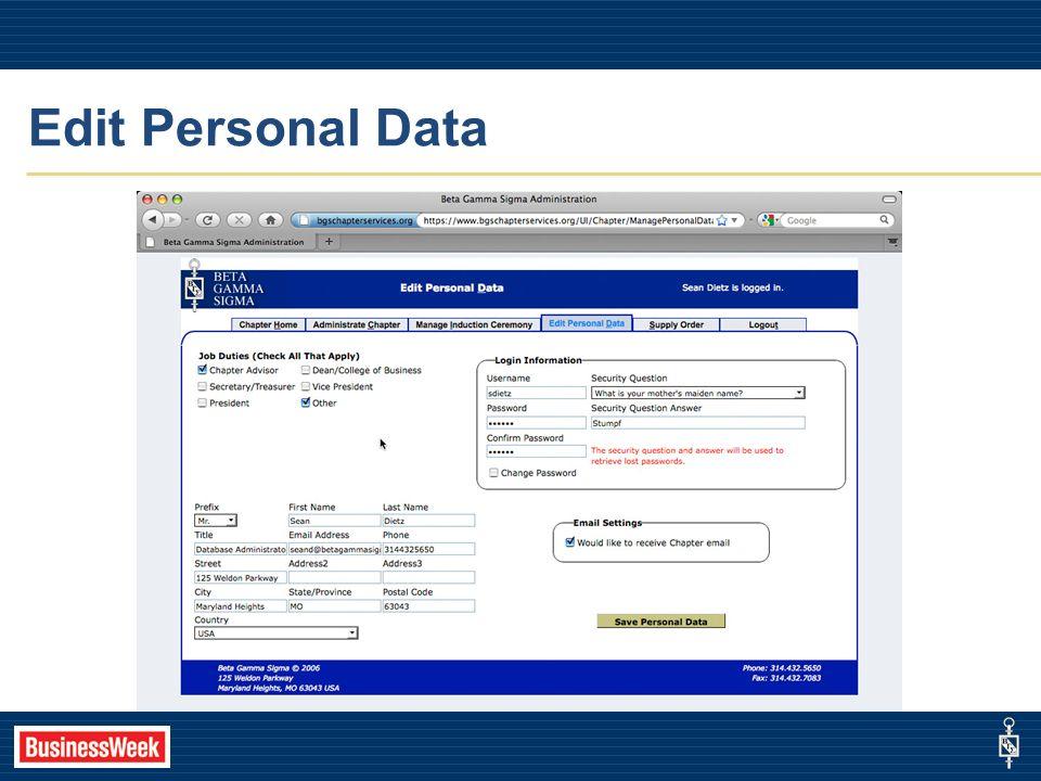 Edit Personal Data