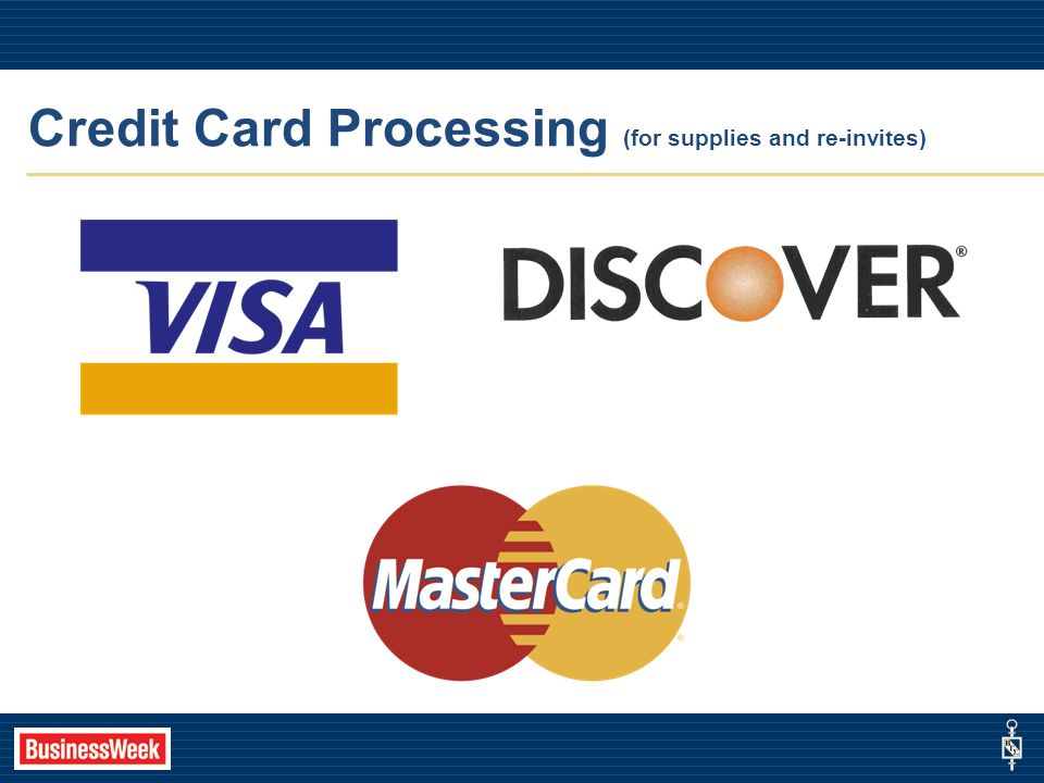 Credit Card Processing (for supplies and re-invites)