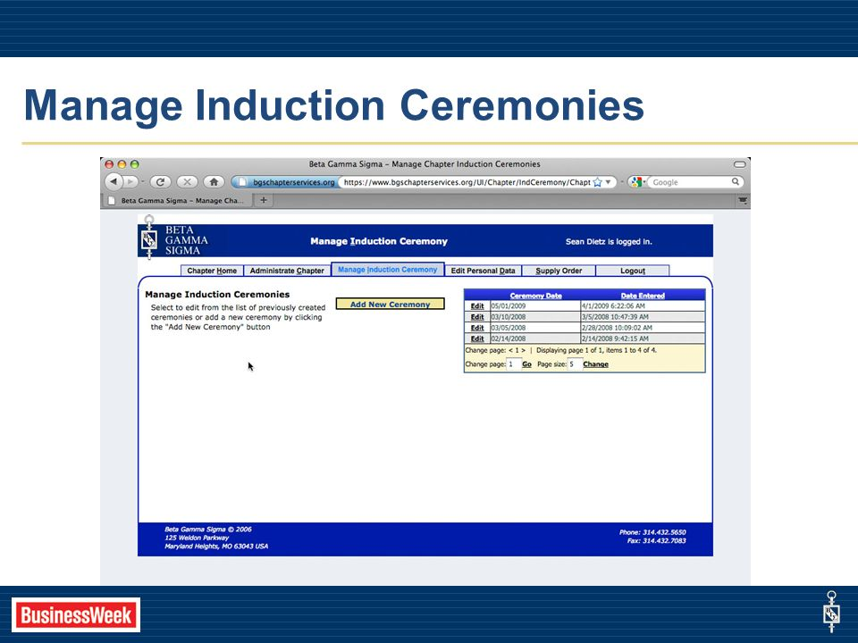 Manage Induction Ceremonies