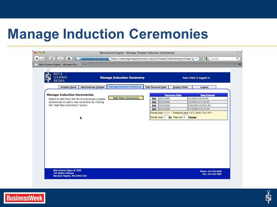 Manage Induction Ceremonies