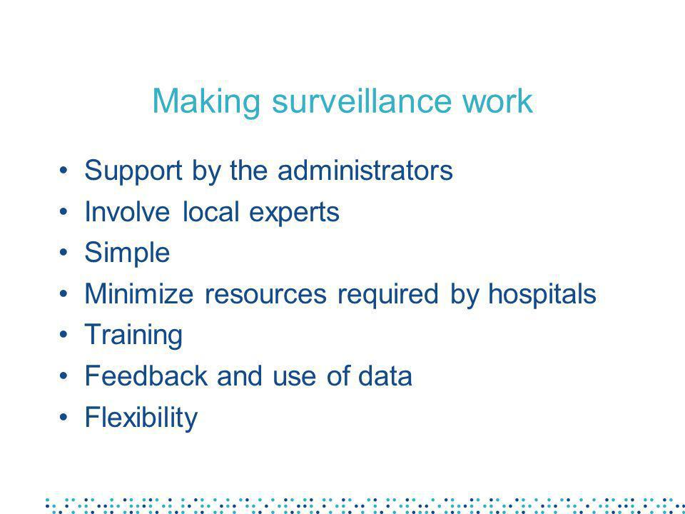 Making surveillance work Support by the administrators Involve local experts Simple Minimize resources required by hospitals Training Feedback and use