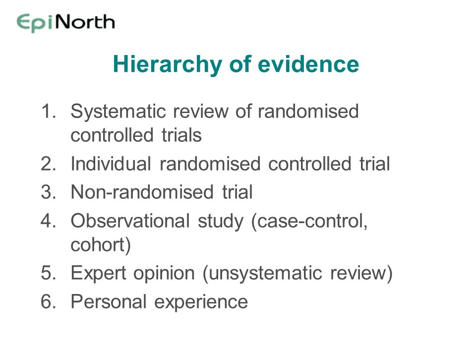 Hierarchy of evidence 1.Systematic review of randomised controlled trials 2.Individual randomised controlled trial 3.Non-randomised trial 4.Observational study (case-control, cohort) 5.Expert opinion (unsystematic review) 6.Personal experience