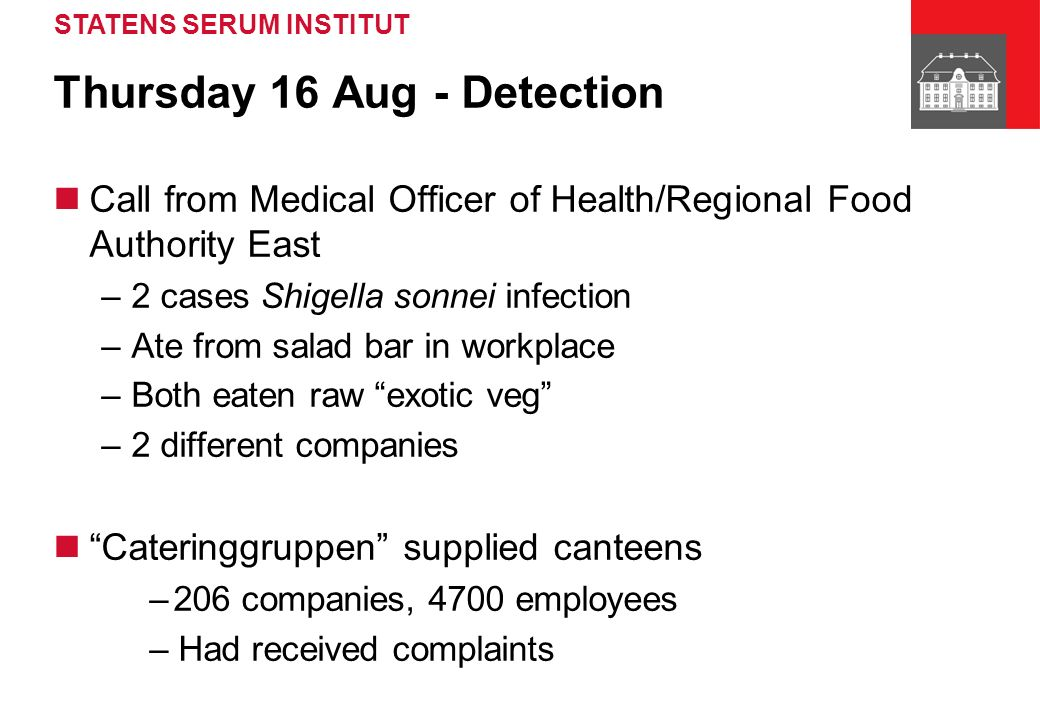 STATENS SERUM INSTITUT Thursday 16 Aug - Detection Call from Medical Officer of Health/Regional Food Authority East –2 cases Shigella sonnei infection