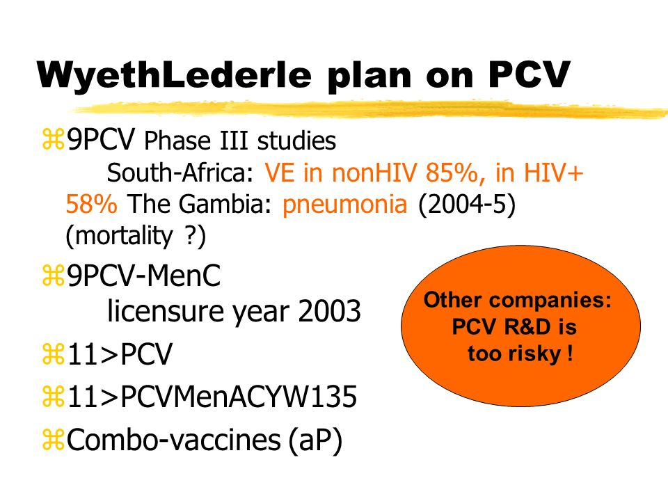 WyethLederle plan on PCV z9PCV Phase III studies South-Africa: VE in nonHIV 85%, in HIV+ 58% The Gambia: pneumonia (2004-5) (mortality ?) z9PCV-MenC l