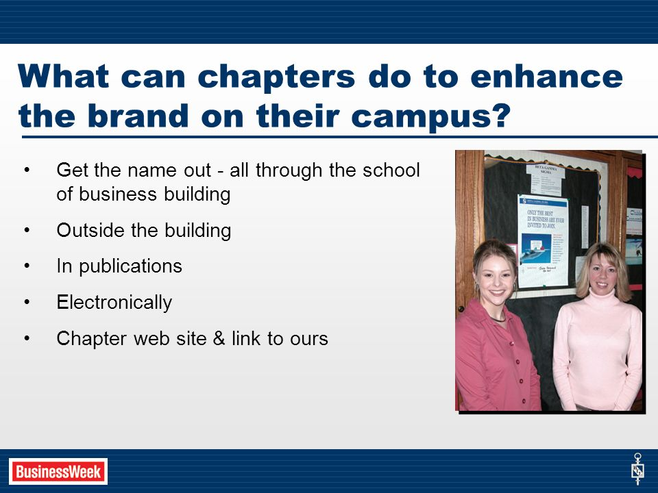 What can chapters do to enhance the brand on their campus.