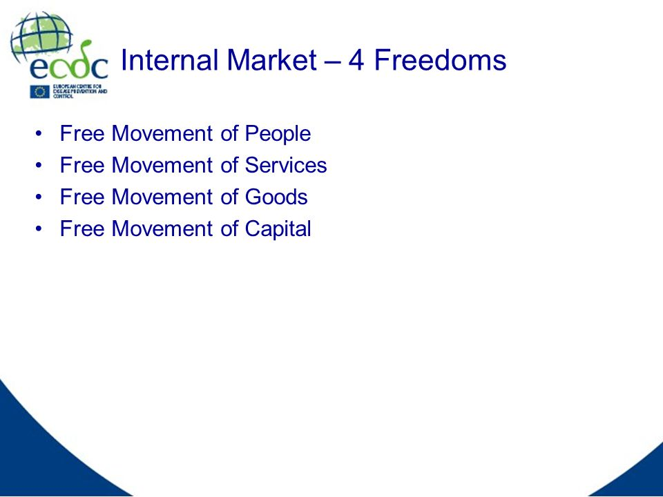 Internal Market – 4 Freedoms Free Movement of People Free Movement of Services Free Movement of Goods Free Movement of Capital
