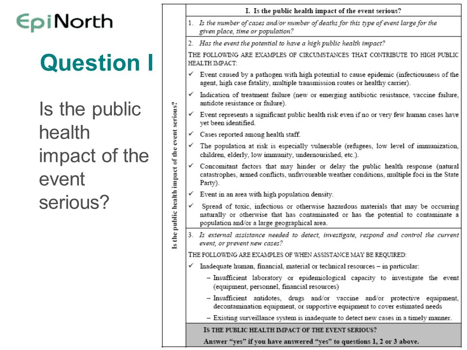 Question I Is the public health impact of the event serious?