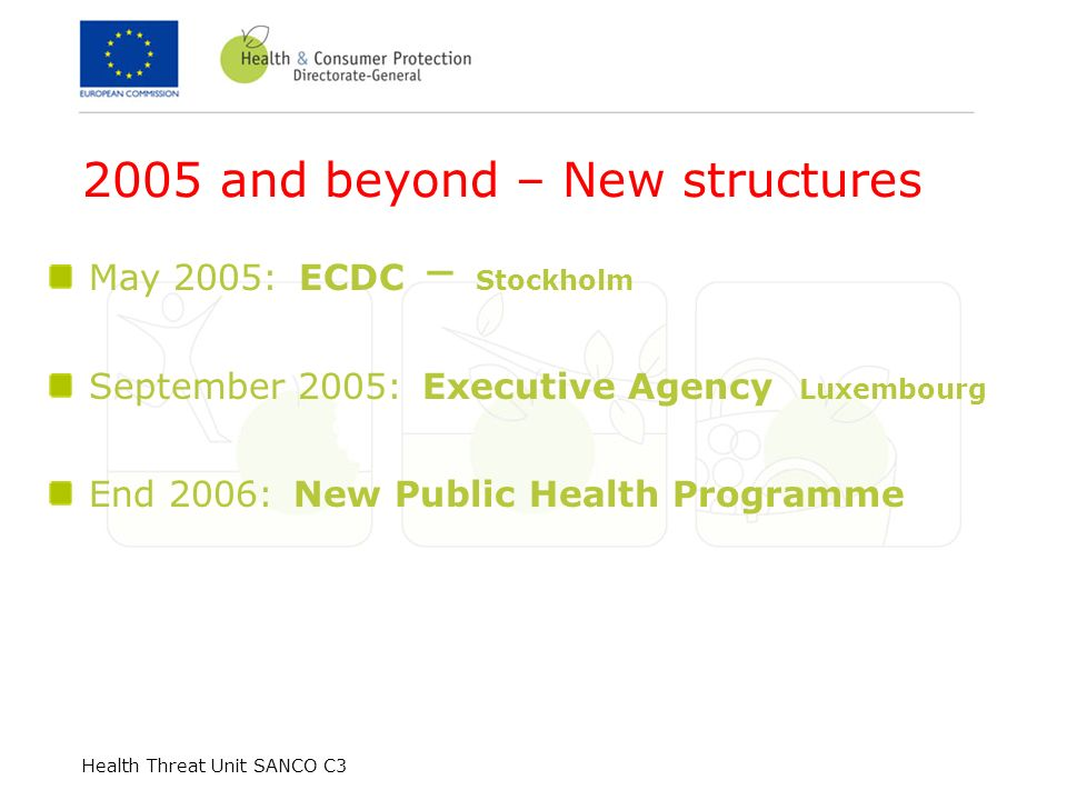 2005 and beyond – New structures May 2005: ECDC – Stockholm September 2005: Executive Agency Luxembourg End 2006: New Public Health Programme