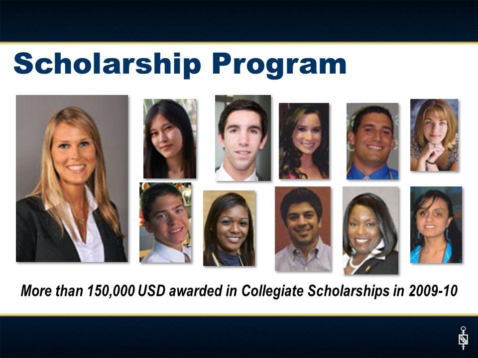 Scholarship Program More than 150,000 USD awarded in Collegiate Scholarships in 2009-10