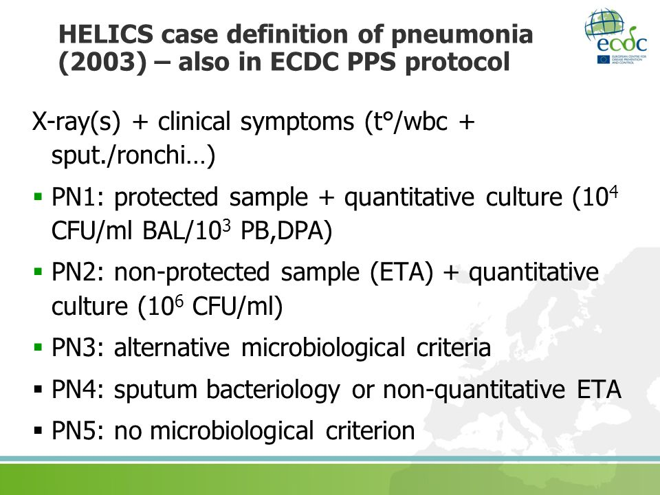 HELICS case definition of pneumonia (2003) – also in ECDC PPS protocol X-ray(s) + clinical symptoms (t°/wbc + sput./ronchi…) PN1: protected sample + q