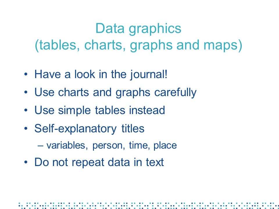Data graphics (tables, charts, graphs and maps) Have a look in the journal.