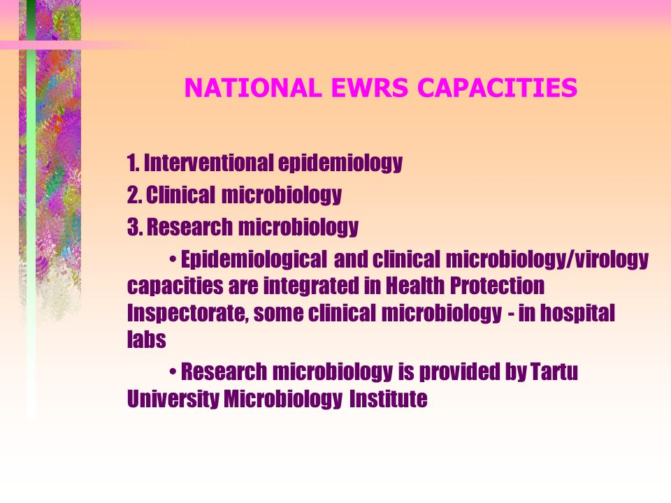 NATIONAL EWRS CAPACITIES 1. Interventional epidemiology 2.