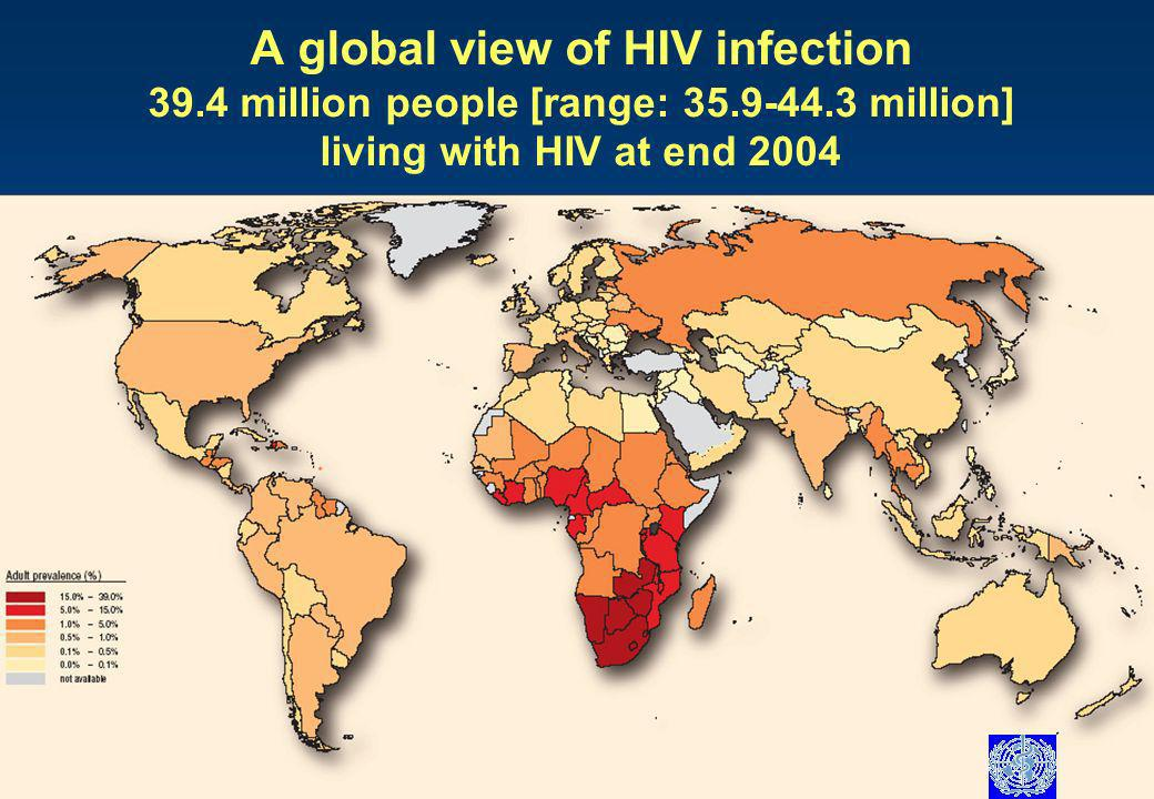 A global view of HIV infection 39.4 million people [range: million] living with HIV at end 2004