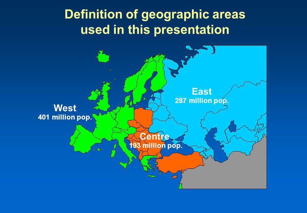 Definition of geographic areas used in this presentation West 401 million pop.