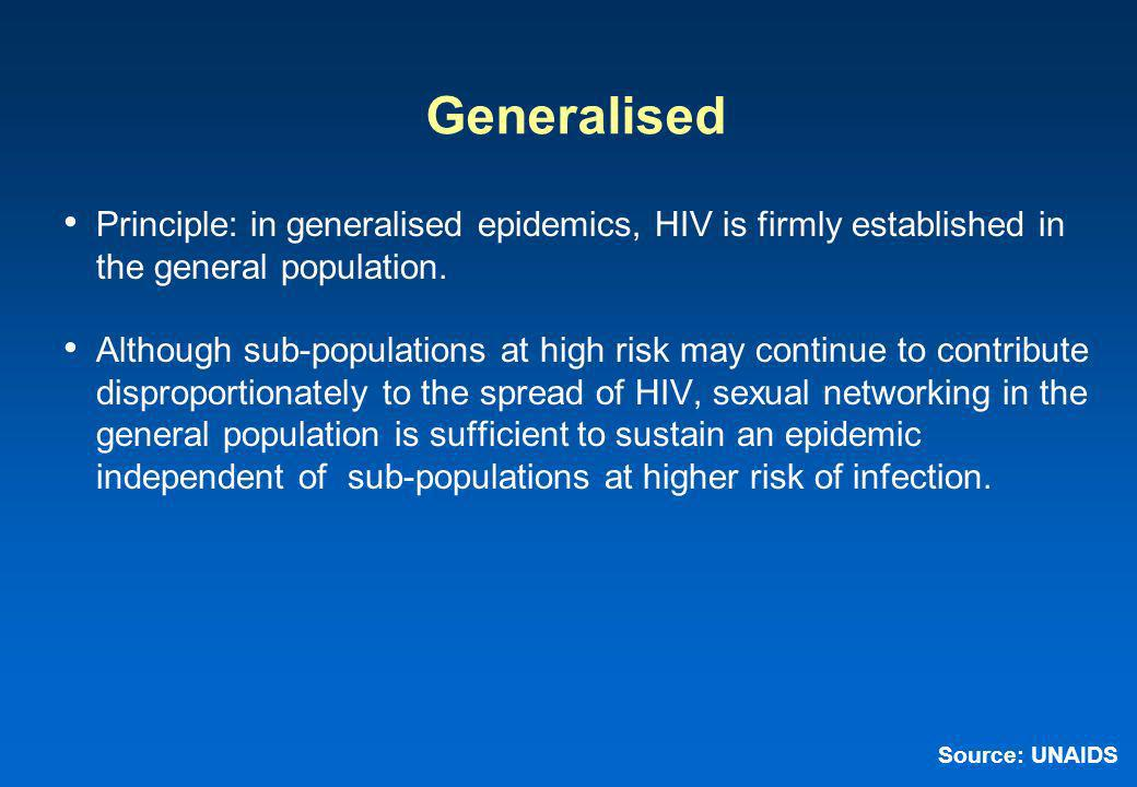 Generalised Principle: in generalised epidemics, HIV is firmly established in the general population.