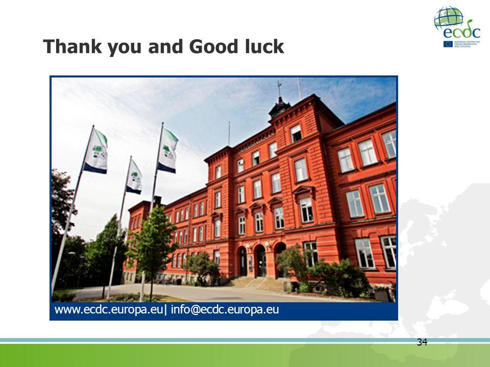 34 Thank you and Good luck www.ecdc.europa.eu  info@ecdc.europa.eu
