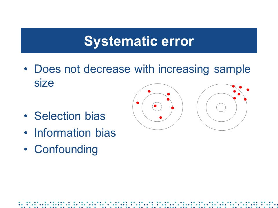 Systematic error Does not decrease with increasing sample size Selection bias Information bias Confounding