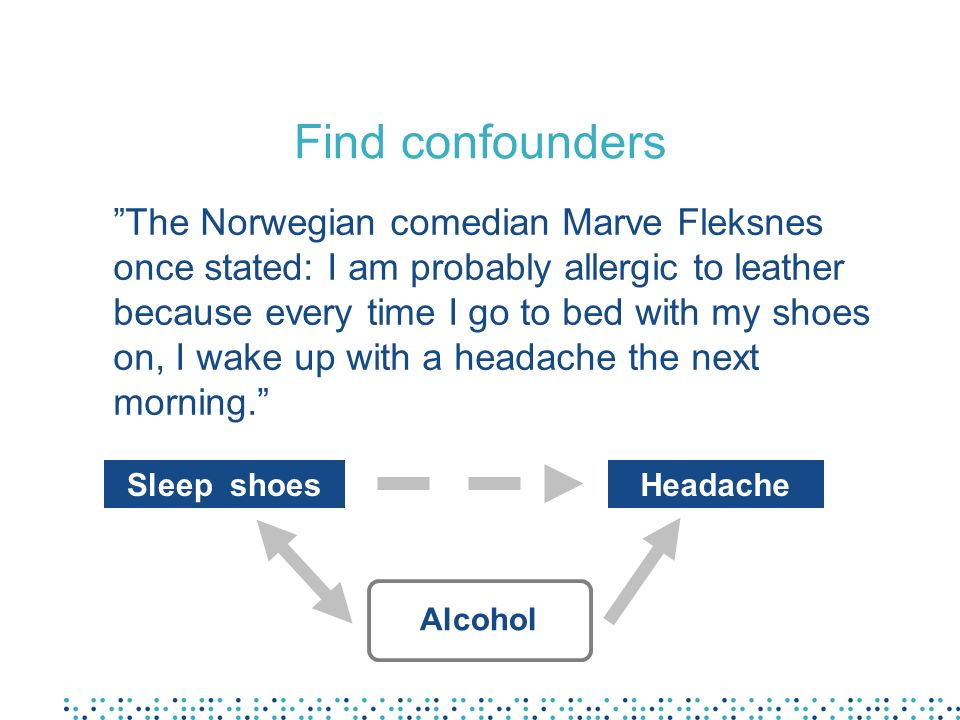 Find confounders The Norwegian comedian Marve Fleksnes once stated: I am probably allergic to leather because every time I go to bed with my shoes on,