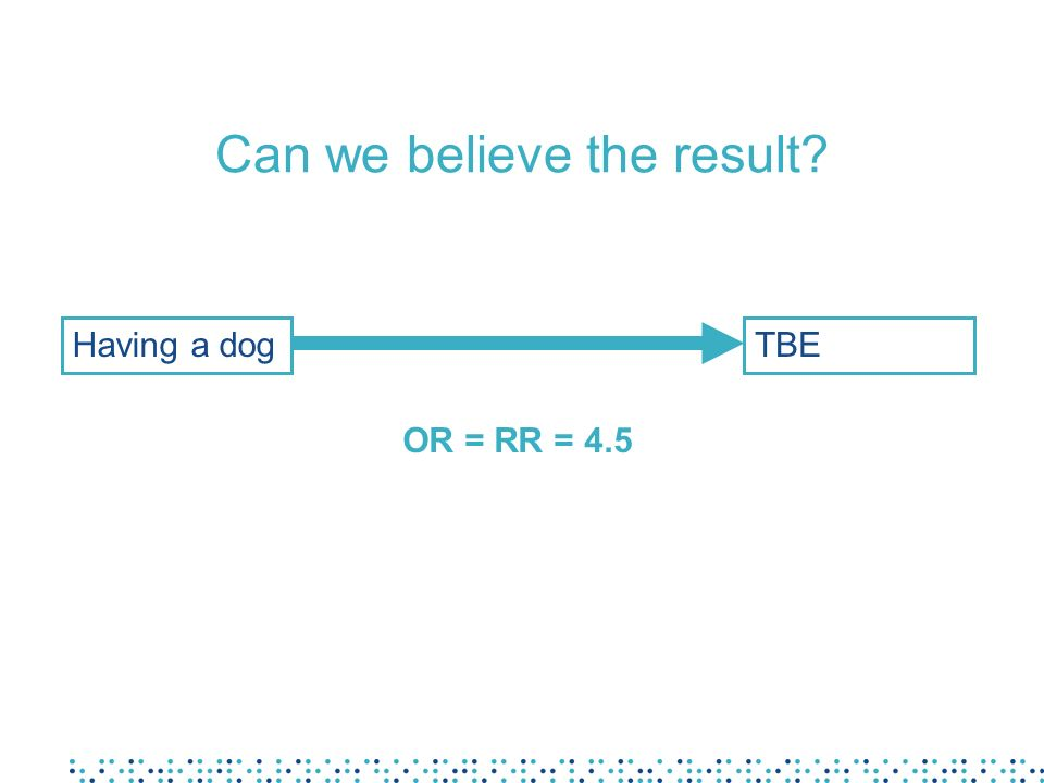 Can we believe the result Having a dogTBE OR = RR = 4.5