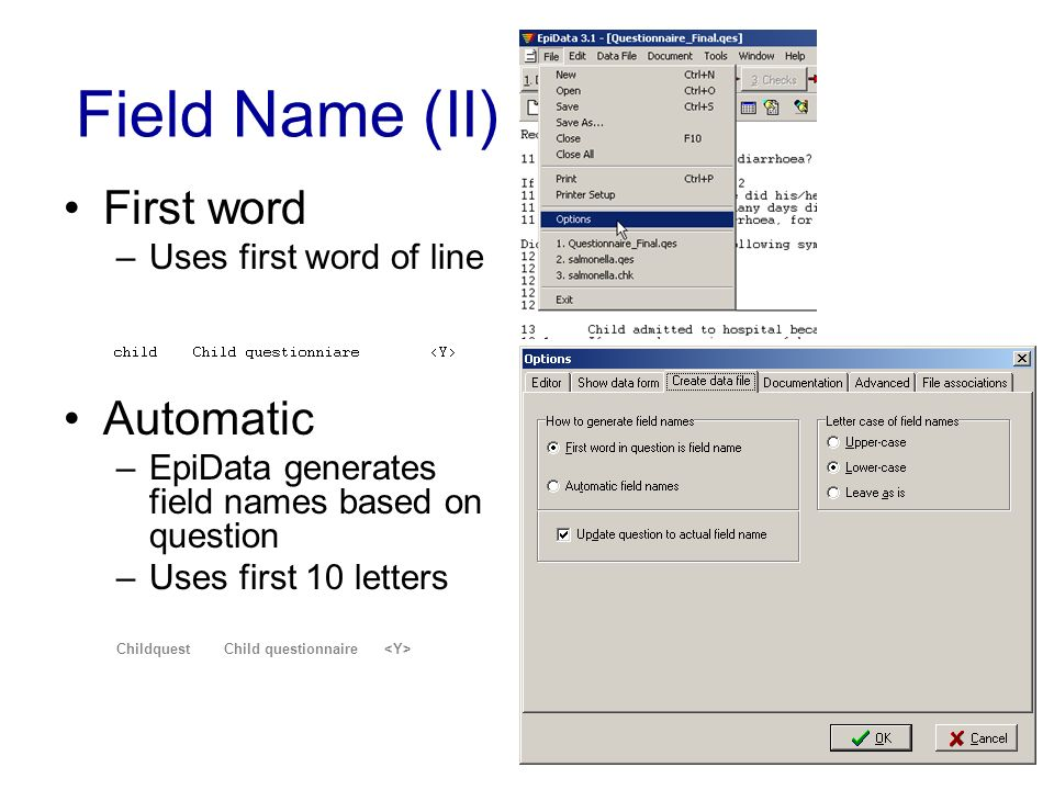 Field Name (II) First word –Uses first word of line Automatic –EpiData generates field names based on question –Uses first 10 letters Childquest Child
