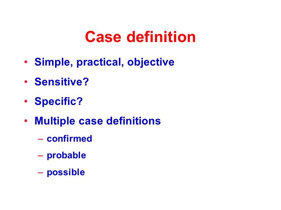 Case definition Simple, practical, objective Sensitive.