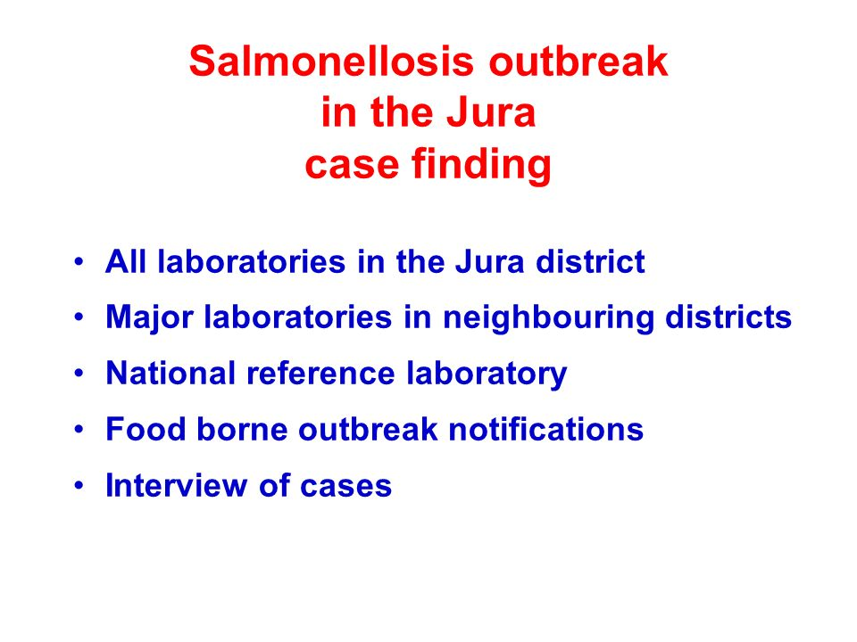 Salmonellosis outbreak in the Jura case finding All laboratories in the Jura district Major laboratories in neighbouring districts National reference laboratory Food borne outbreak notifications Interview of cases