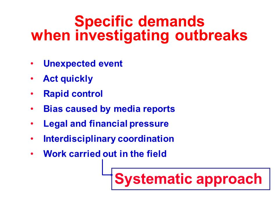 Specific demands when investigating outbreaks Unexpected event Act quickly Rapid control Bias caused by media reports Legal and financial pressure Int