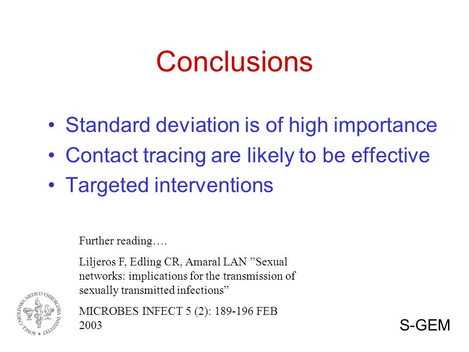 Conclusions Standard deviation is of high importance Contact tracing are likely to be effective Targeted interventions Further reading….