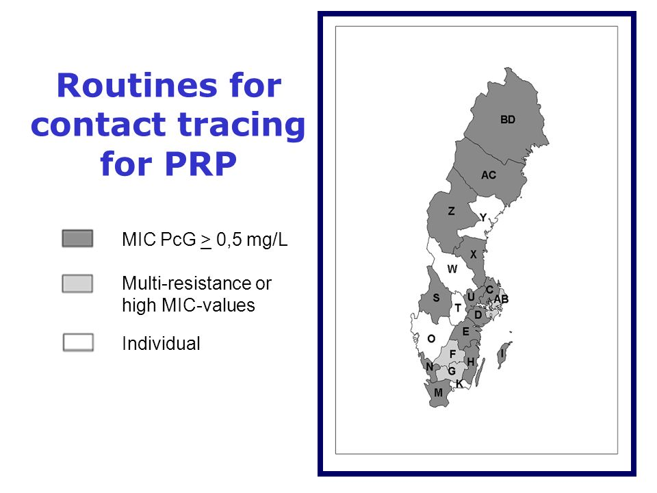 Routines for contact tracing for PRP MIC PcG > 0,5 mg/L Multi-resistance or high MIC-values Individual