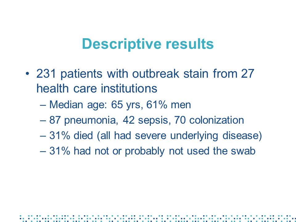 Descriptive results 231 patients with outbreak stain from 27 health care institutions –Median age: 65 yrs, 61% men –87 pneumonia, 42 sepsis, 70 coloni