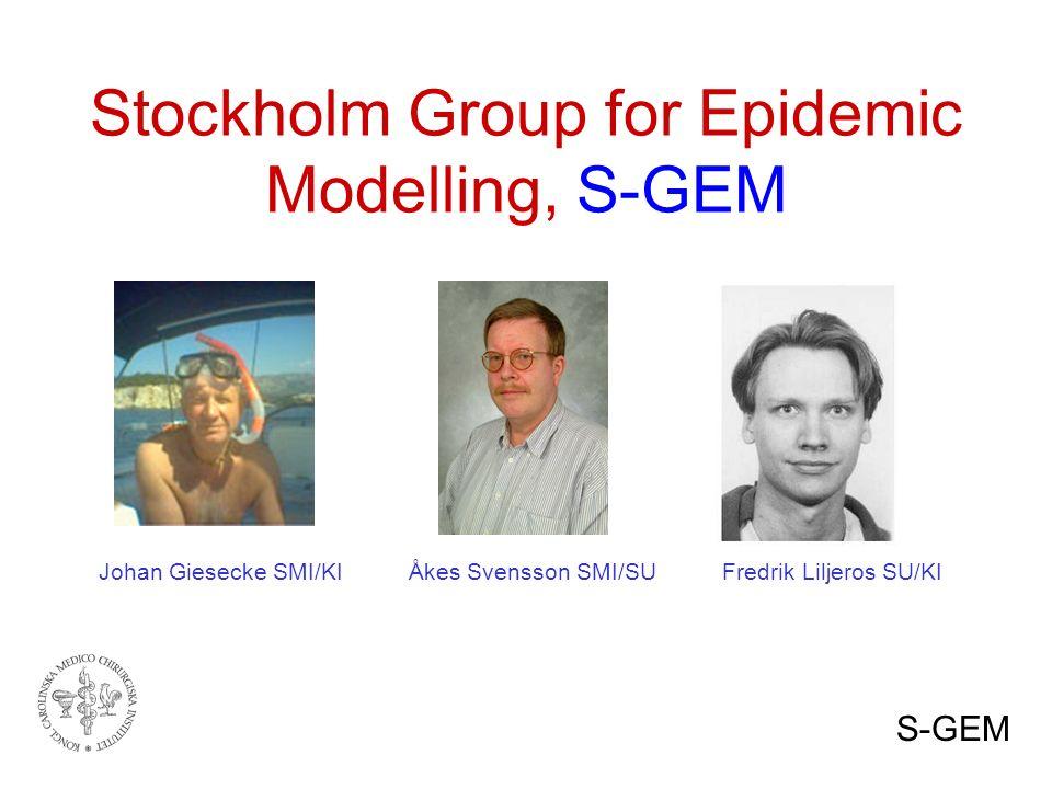 Stockholm Group for Epidemic Modelling, S-GEM Johan Giesecke SMI/KI Åkes Svensson SMI/SU Fredrik Liljeros SU/KI S-GEM