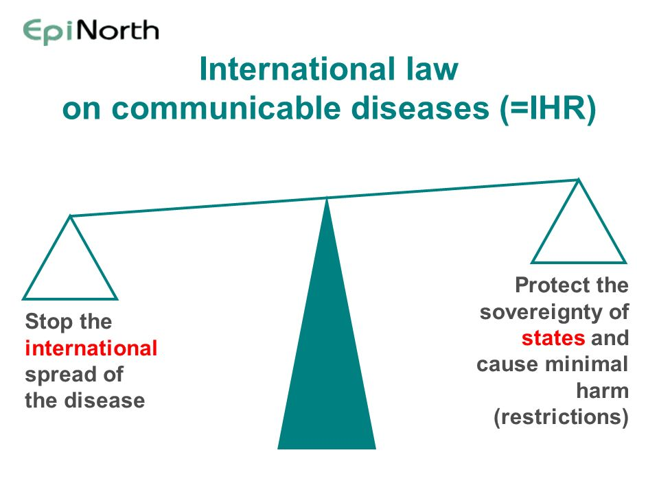 International law on communicable diseases (=IHR) Stop the international spread of the disease Protect the sovereignty of states and cause minimal har