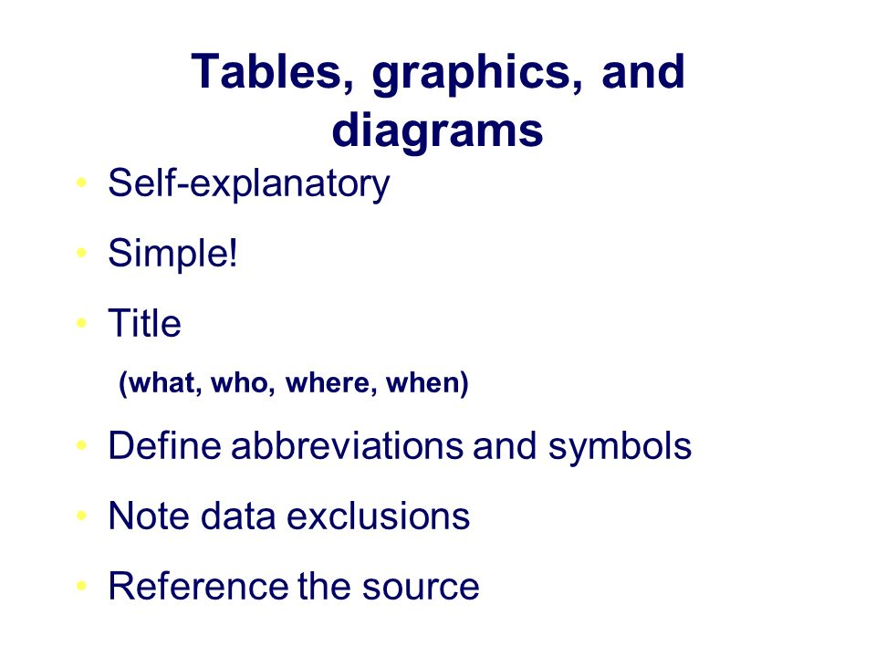 Tables, graphics, and diagrams Self-explanatory Simple.