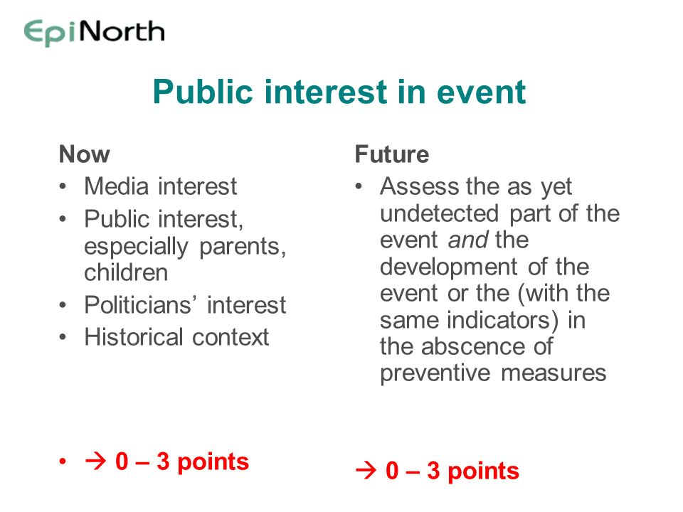 Public interest in event Now Media interest Public interest, especially parents, children Politicians interest Historical context 0 – 3 points Future Assess the as yet undetected part of the event and the development of the event or the (with the same indicators) in the abscence of preventive measures 0 – 3 points