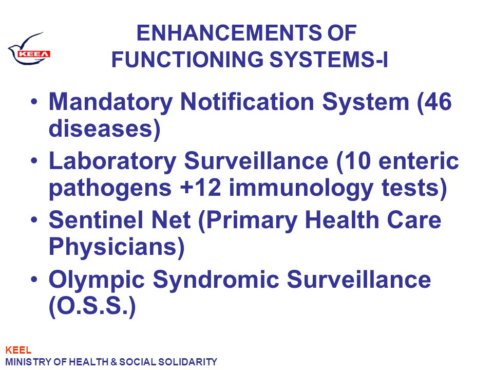 ENHANCEMENTS OF FUNCTIONING SYSTEMS-I Mandatory Notification System (46 diseases) Laboratory Surveillance (10 enteric pathogens +12 immunology tests) Sentinel Net (Primary Health Care Physicians) Olympic Syndromic Surveillance (O.S.S.) KEEL MINISTRY OF HEALTH & SOCIAL SOLIDARITY