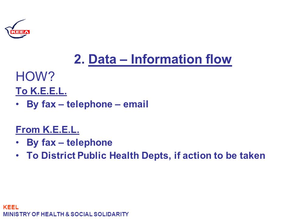 2. Data – Information flow HOW. To K.E.E.L. By fax – telephone – email From K.E.E.L.