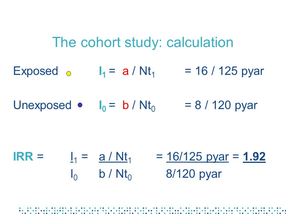 The cohort study: calculation Exposed I 1 = a / Nt 1 = 16 / 125 pyar UnexposedI 0 = b / Nt 0 = 8 / 120 pyar IRR = I 1 =a / Nt 1 = 16/125 pyar = 1.92 I