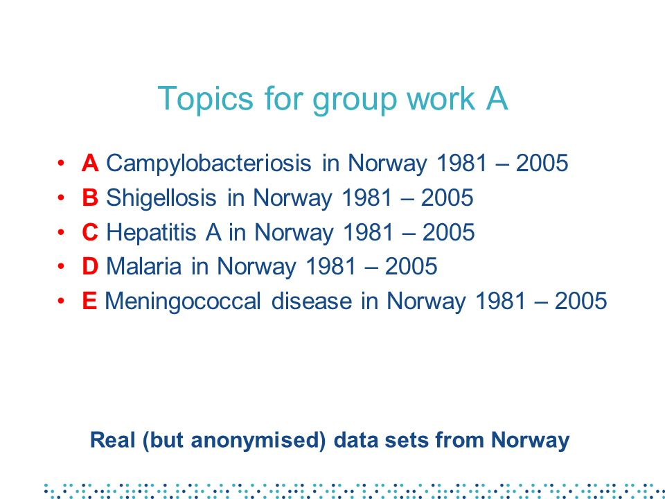 Topics for group work A A Campylobacteriosis in Norway 1981 – 2005 B Shigellosis in Norway 1981 – 2005 C Hepatitis A in Norway 1981 – 2005 D Malaria in Norway 1981 – 2005 E Meningococcal disease in Norway 1981 – 2005 Real (but anonymised) data sets from Norway