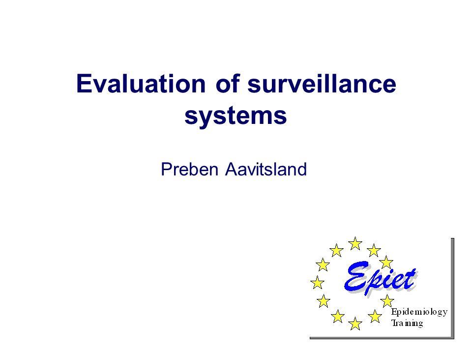 Evaluation of surveillance systems Preben Aavitsland