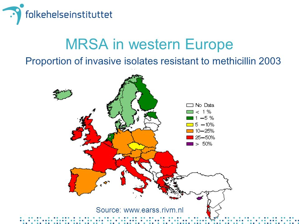 MRSA in England og Wales Proportion (%) of MRSA i blood culture, 1989-2002