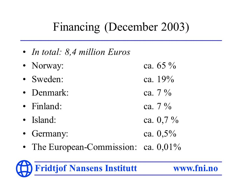 Fridtjof Nansens Institutt www.fni.no Financing (December 2003) In total: 8,4 million Euros Norway: ca. 65 % Sweden: ca. 19% Denmark: ca. 7 % Finland: