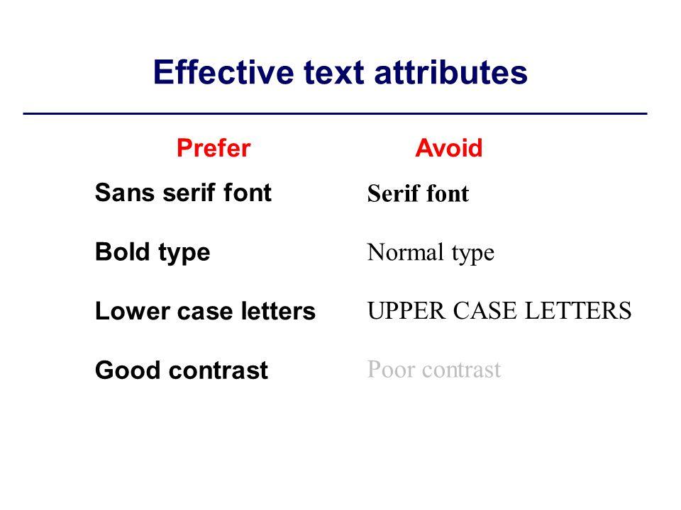 Effective text attributes Sans serif font Bold type Lower case letters Good contrast Serif font Normal type UPPER CASE LETTERS Poor contrast PreferAvoid
